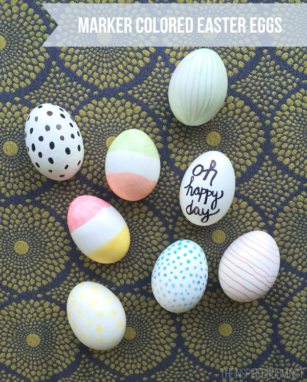 Easy No-Dye Marker Colored Easter Eggs