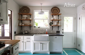 Eclectic Kitchen Renovation with Industrial Shelves and Painted Floors