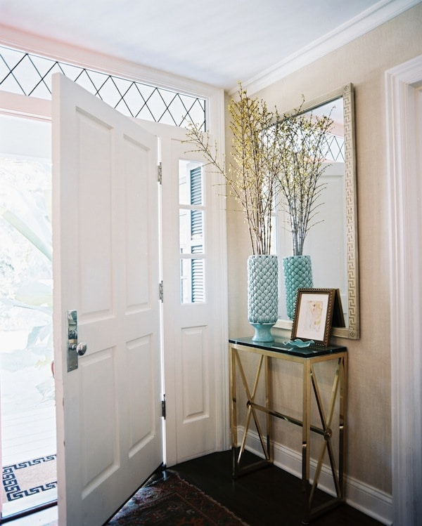 Entry with Brass Console Table and Patterned Rug