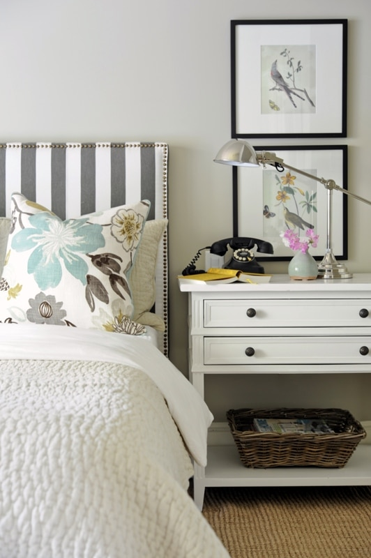 Pretty Master Bedroom with Striped Gray and White Headboard
