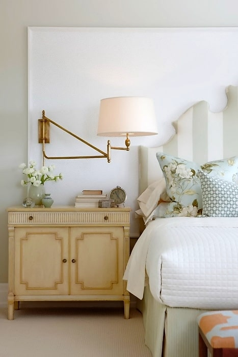 Pretty Neutral Bedroom with Striped Headboard by Sarah Richardson