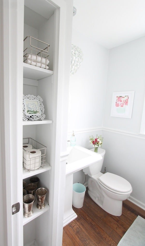Pretty White Powder Bathroom Design