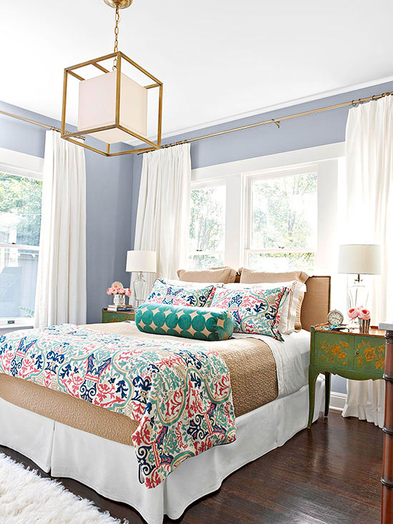Spring Bedroom with Colorful Patterns