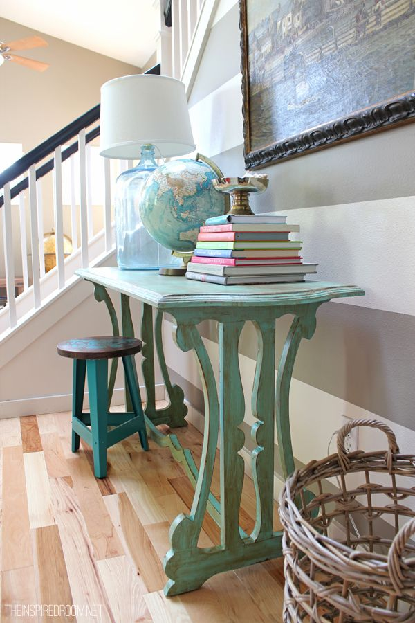 Spring Entry Table with Striped Wall