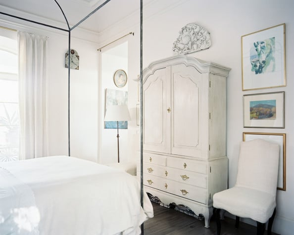 Beautiful White Bedroom with Whitewashed Antique Armoire