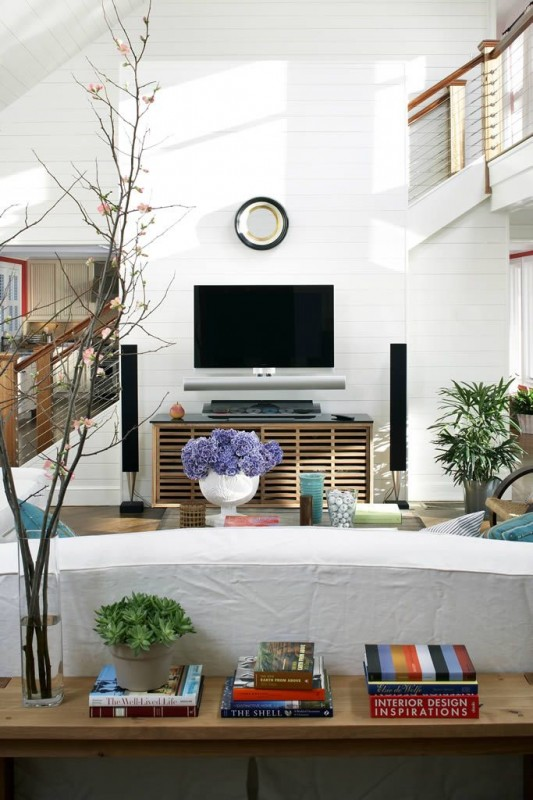 Beautiful White and Wood Living Room - Beach House Tour