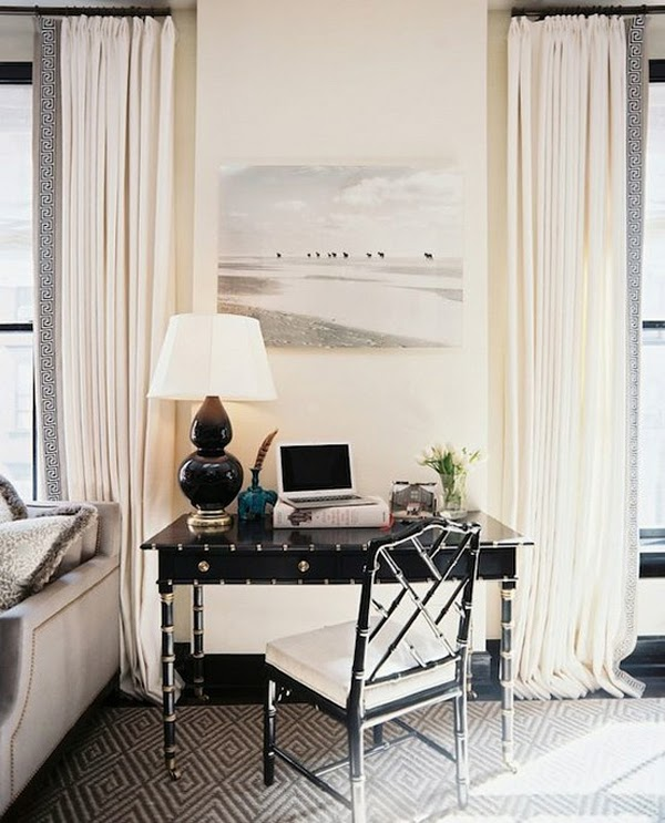 Black Desk and White Curtains with Greek Key Trim
