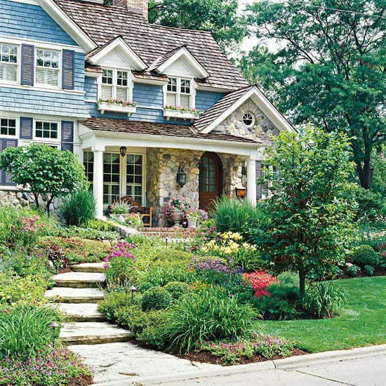 Charming Home Exterior with Flagstone Steps