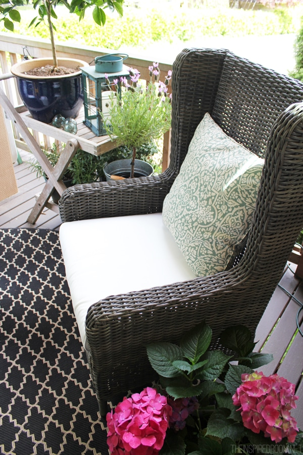 Himara All Weather Gray Wicker Wingback Outdoor Chair