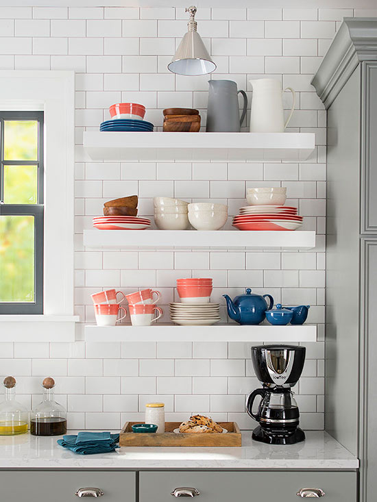 Kitchen with subway tile - bhg