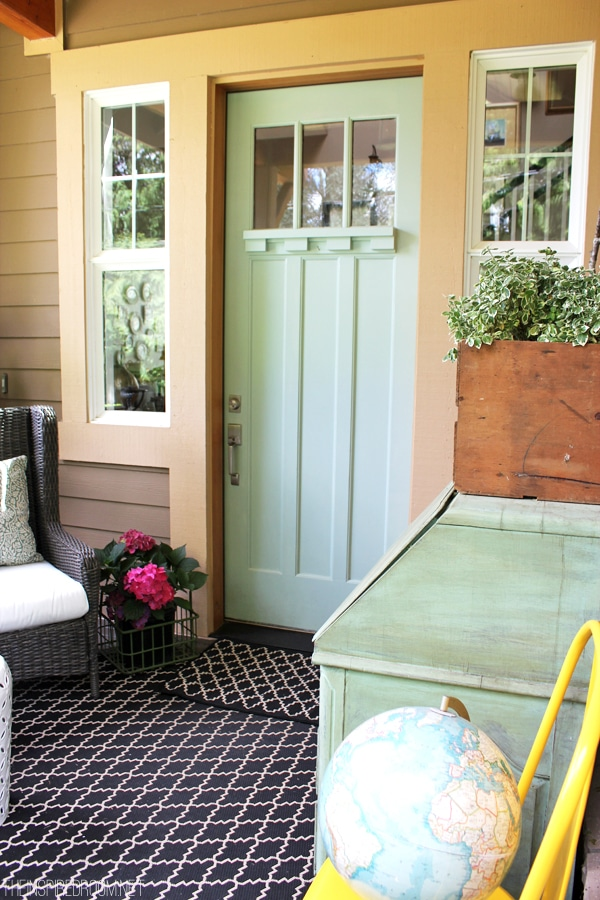 Light Blue Painted Front Door - Front Porch Decorating