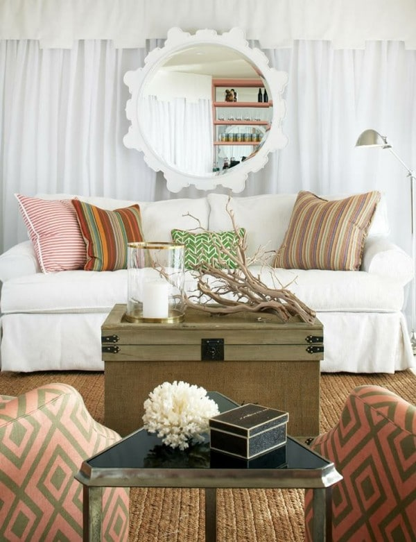 Peach and white Living Room - Massachusetts House Tour -Terrat Elms - Marblehead Residence