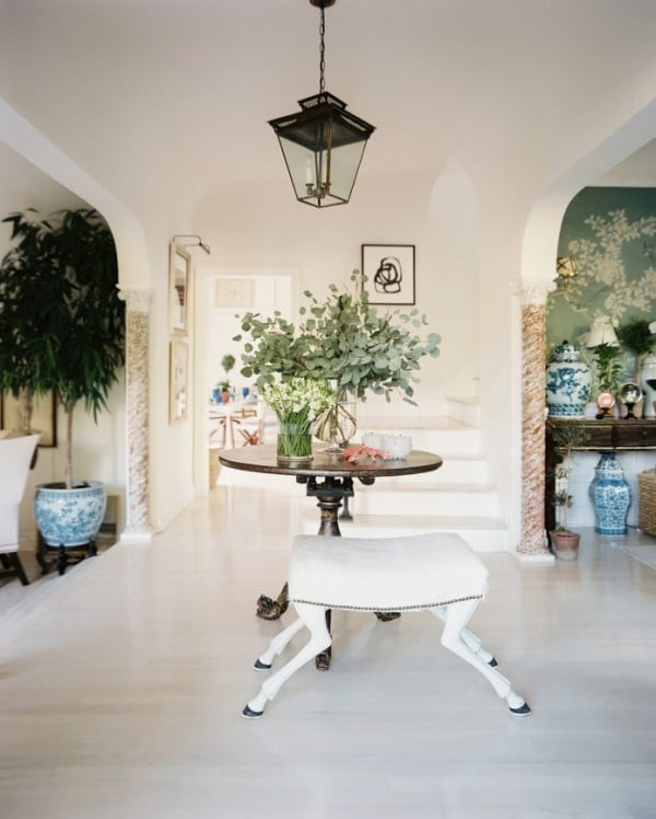 Pretty White Front Entry with Lantern and Round Table