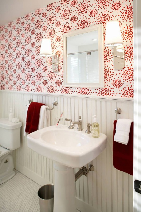 Red and White Wallpaper in the Bathroom - Terrat Elms - Marblehead Residence