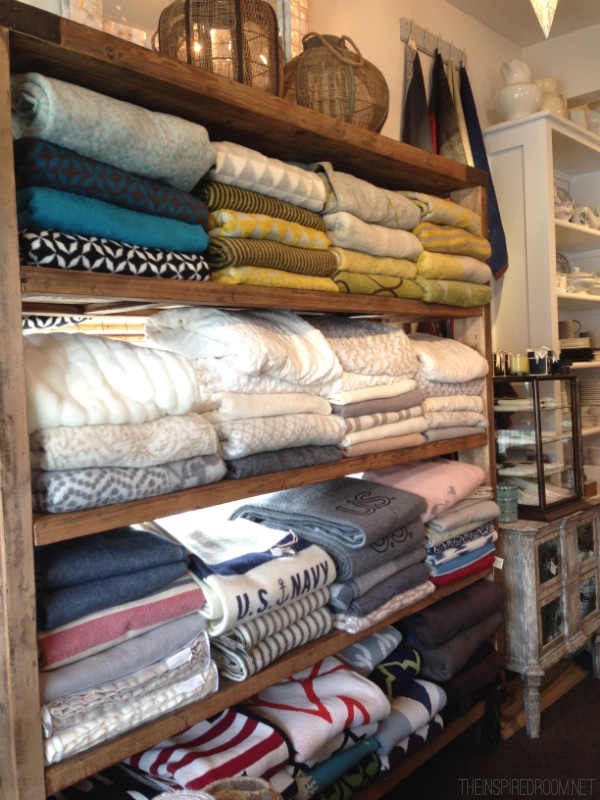 Wall of Blankets at Sesame and Lilies in Cannon Beach
