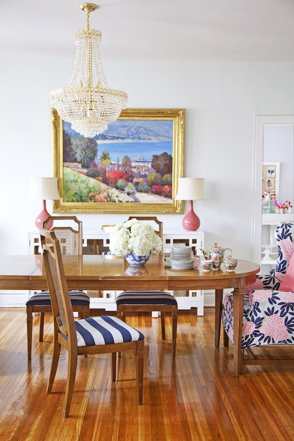 Colorful Dining Room with Wingback Chairs by Caitlin Wilson