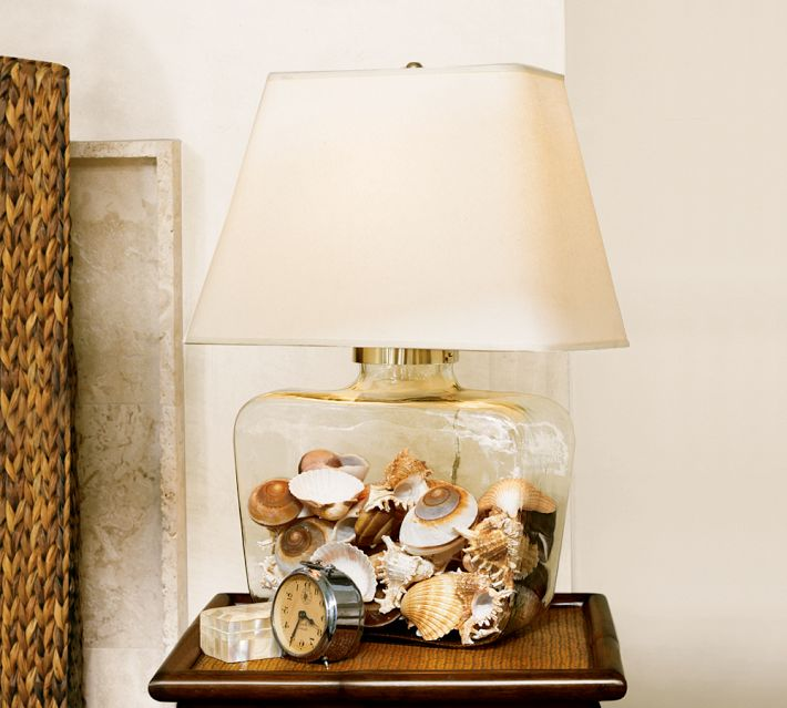 Glass Lamp Filled with Shells