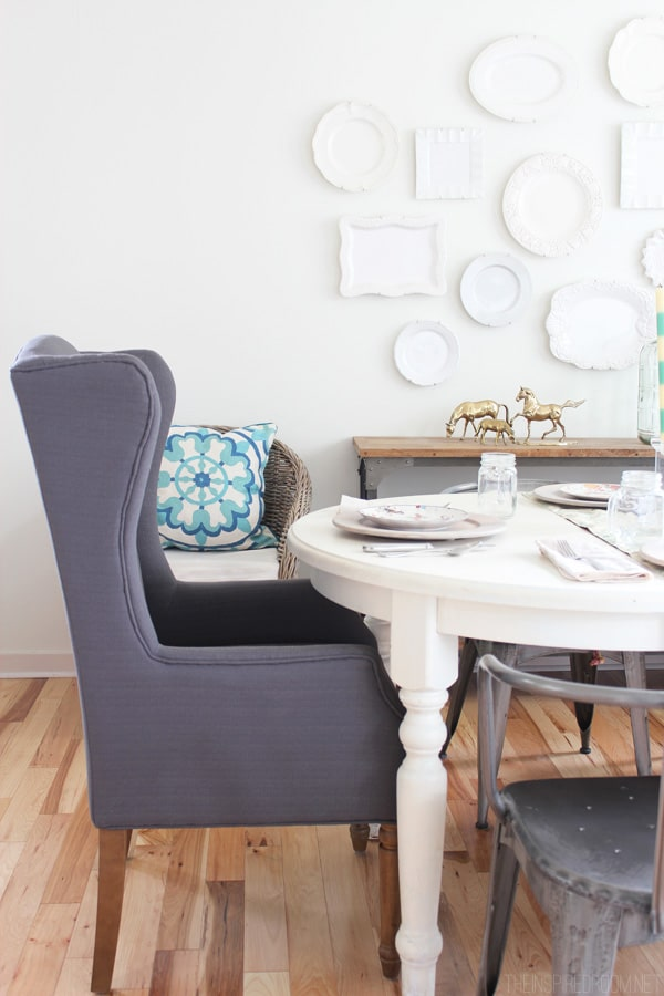 Gray Wingback Chair in the Dining Room - The Inspired Room blog