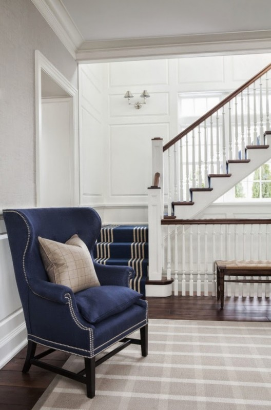 Navy Wingback Chair and Navy Stair Runner - S B Long Interiors