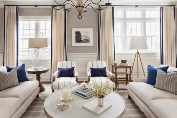 Neutral room with navy accents