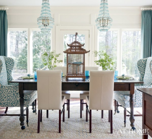 wingbacks in the dining room - the inspired room