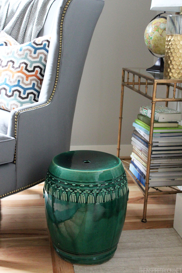 Thrifted Green Garden Stool - Decorating with Texture