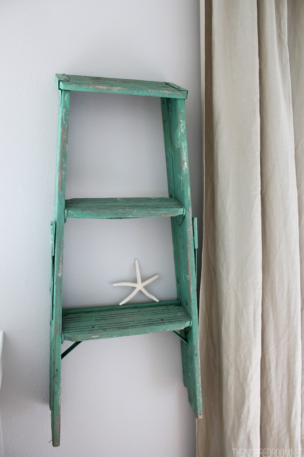 Thrifted Ladder Hung as a Display Shelf