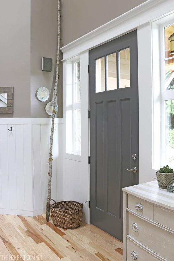 Charcoal Painted Front Door - The Inspired Room