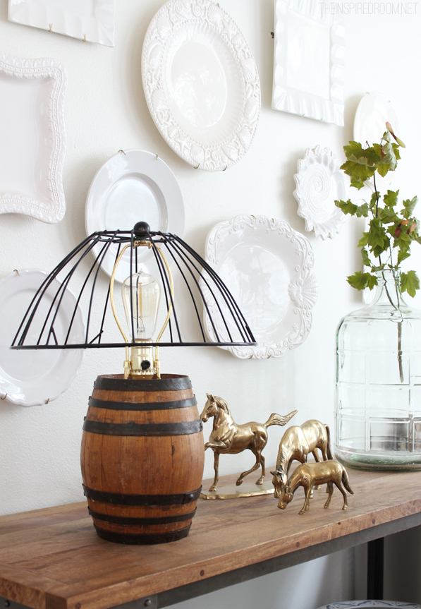 Diy reclaimed barrel lamp wire cage lampshade the inspired room diy reclaimed barrel lamp wire cage lampshade keyboard keysfo