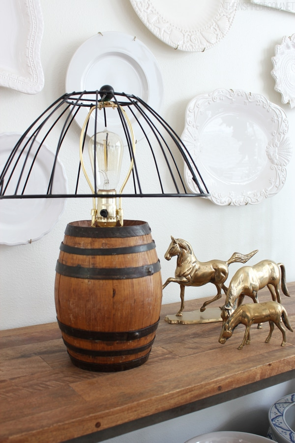 Diy Reclaimed Barrel Lamp Amp Wire Cage Lampshade The