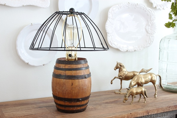 Diy reclaimed barrel lamp wire cage lampshade the inspired room diy reclaimed barrel lamp wire cage lampshade keyboard keysfo Images