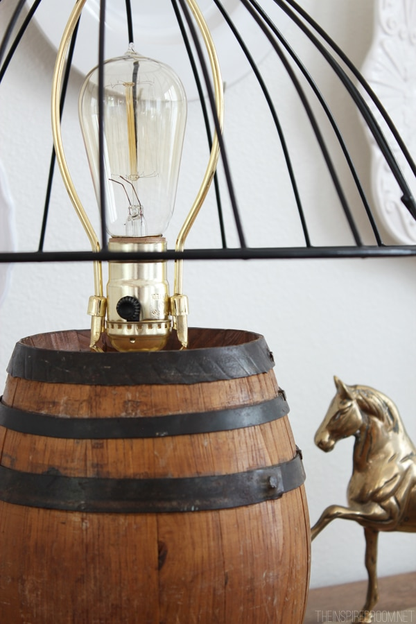 Diy reclaimed barrel lamp wire cage lampshade the inspired room diy reclaimed barrel lamp wire cage lampshade greentooth Gallery