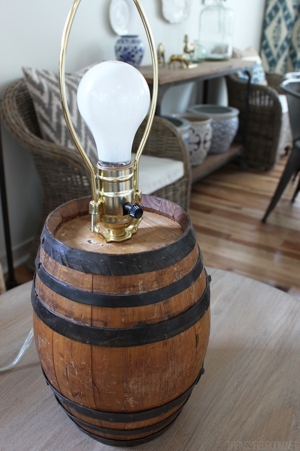 DIY Reclaimed Barrel Lamp & Wire Cage Lampshade