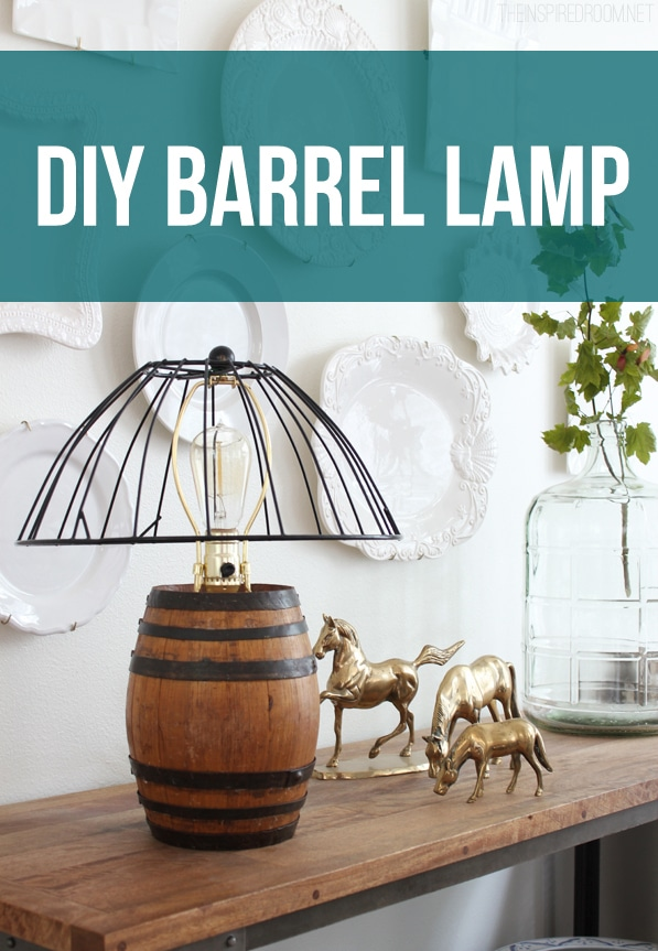 Diy reclaimed barrel lamp wire cage lampshade the inspired room diy reclaimed barrel lamp wire cage lampshade greentooth Choice Image