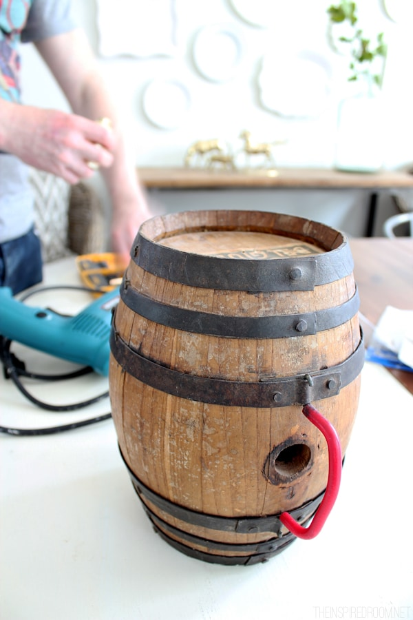 DIY Wine Barrel Lamp - The Inspired Room