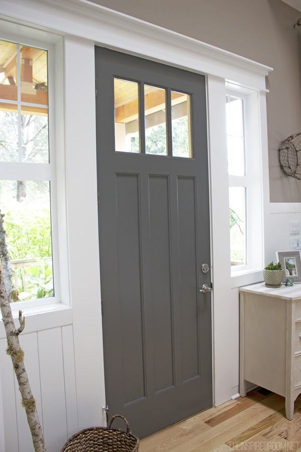 Dark Gray Painted Front Door - The Inspired Room