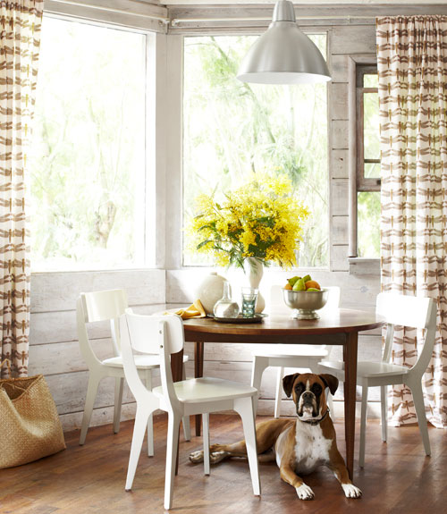 Dining Area with Dog - Thrifty California Cabin