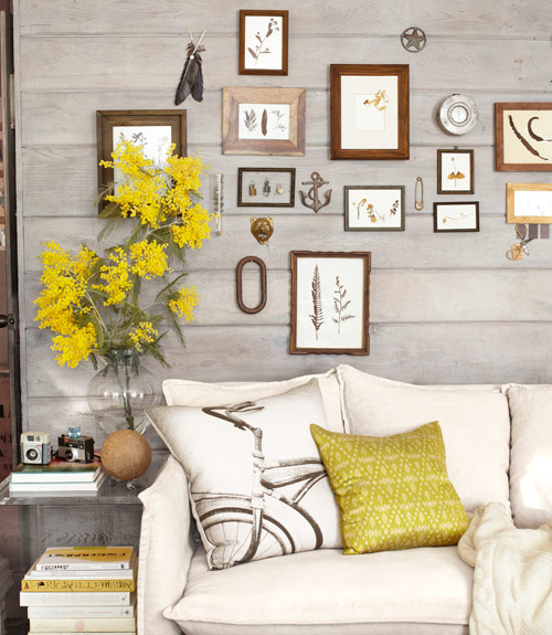 Gallery Wall Above Sofa - Thrifty California Cabin
