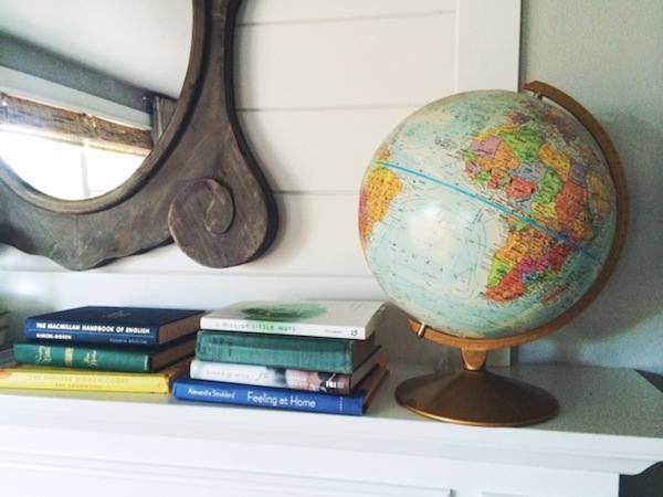 Globe and Books Mantel Decor - The Inspired Room