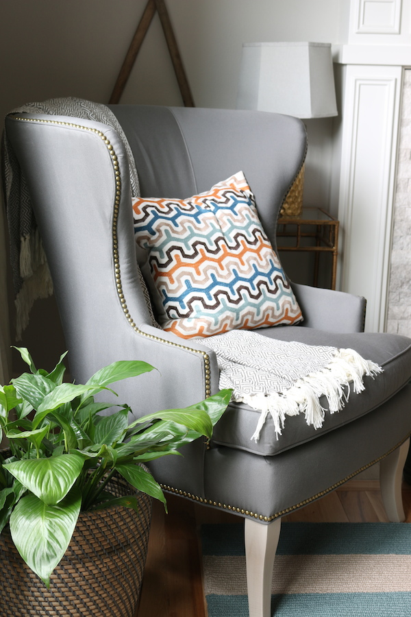 Gray Nailhead Wingback Chair Ballard Designs - Sunbrella Fabric