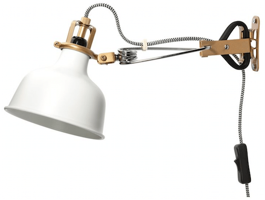 IKEA Gold and White Plug-In Clamp Light
