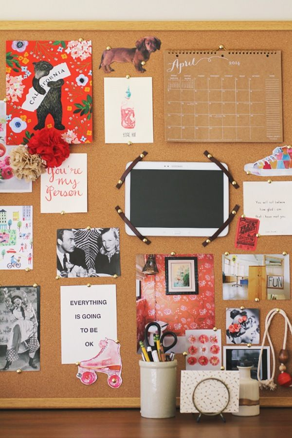 Inspired by pretty office inspiration boards the for Bulletin board organization