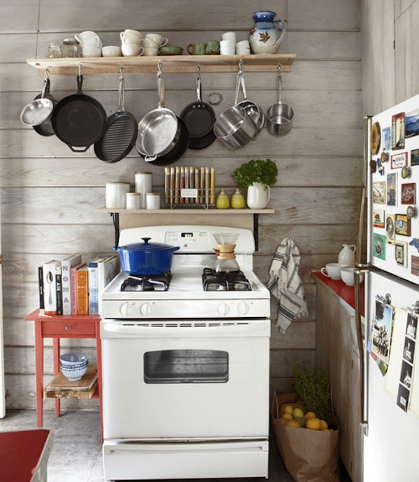 Small Kitchen with Pot Rack- Thrifty California Cabin
