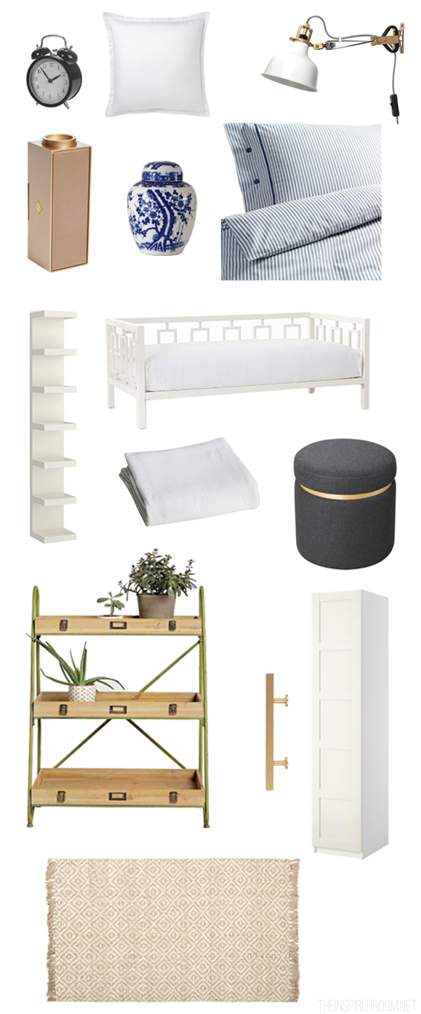 Small Room Design Inspiration Board - Blue White Gray and Gold
