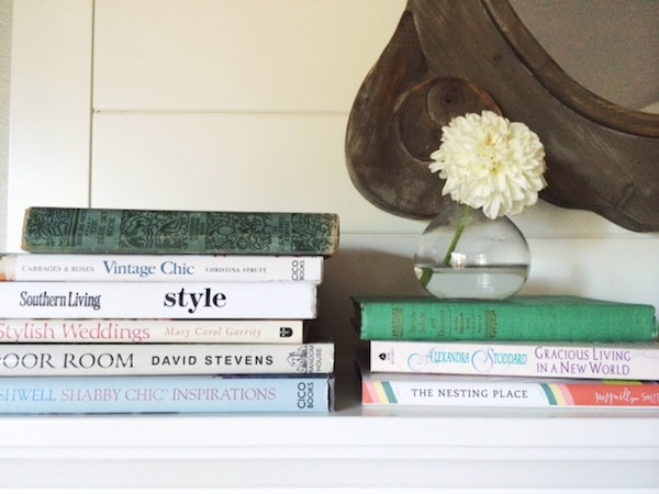Stacked Books Mantel Decor - The Inspired Room