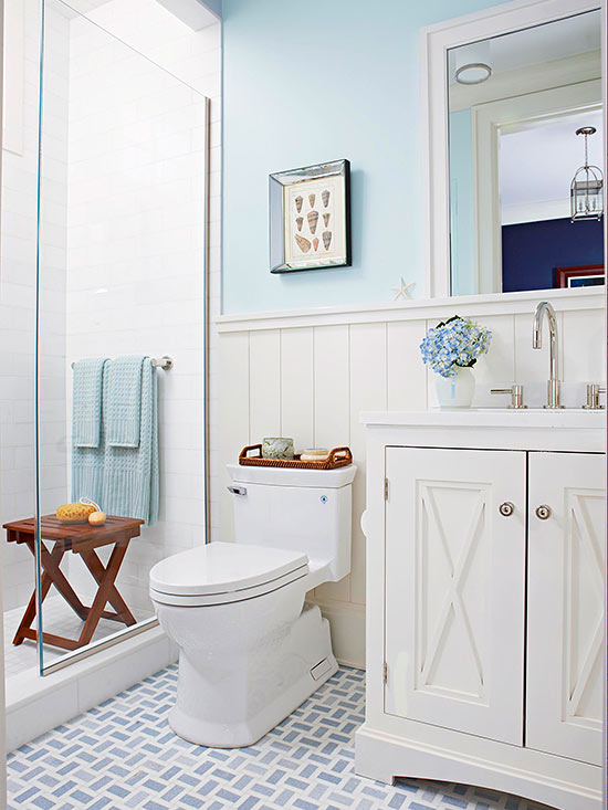 Blue Patterned Tile Floor in a Coastal Bathroom