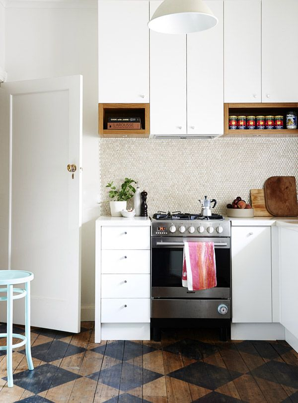 Diamond Patterned Wood Floors in the Kitchen