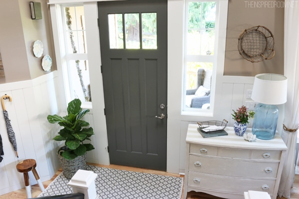 Entry with Charcoal Gray Front Door - The Inspired Room