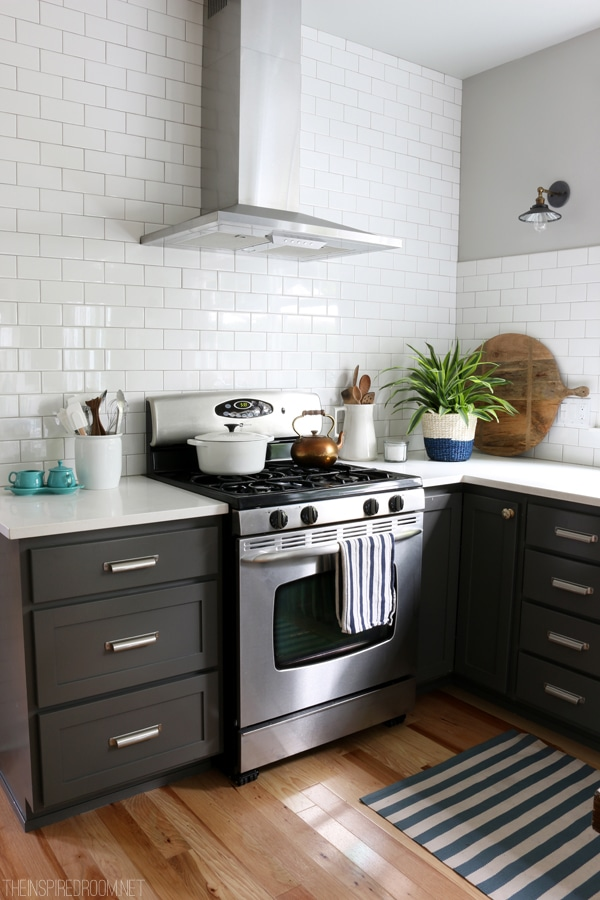 Gray and White Kitchen - White Subway Tile - The Inspired Room