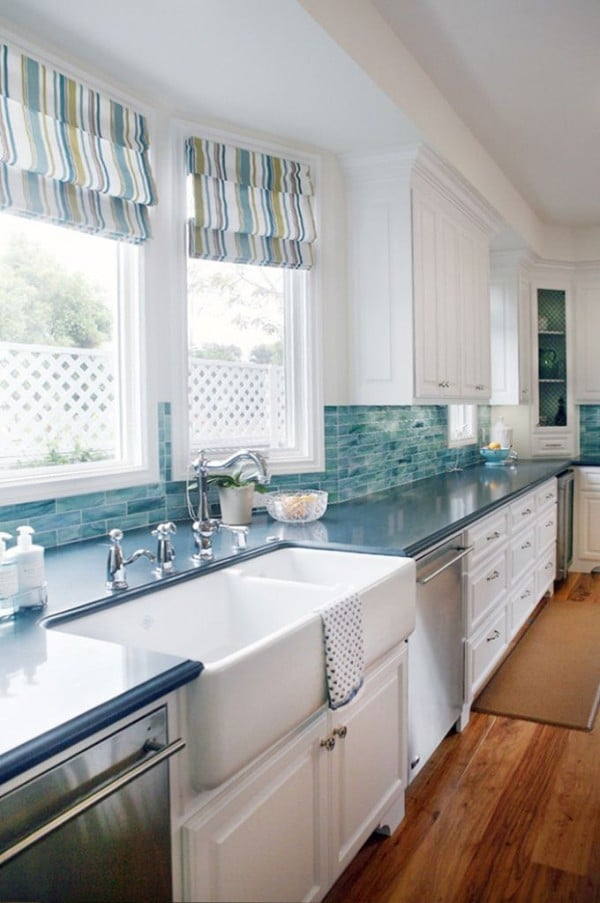 Turquoise Kitchen with Striped Roman Shades